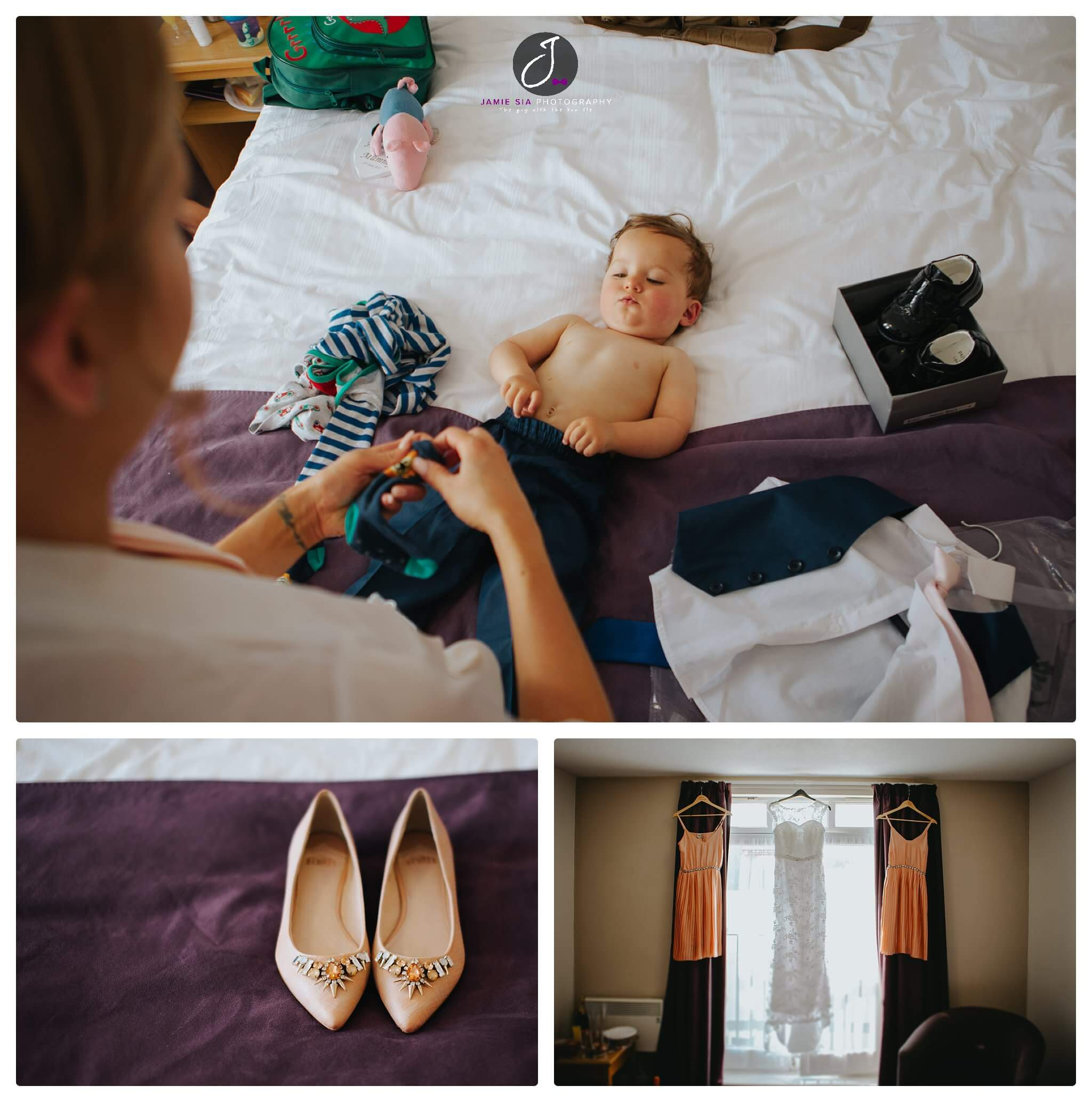 Bridal preparation for Yorkshire wedding, with cute little boy, bridal shoes, bridal dress