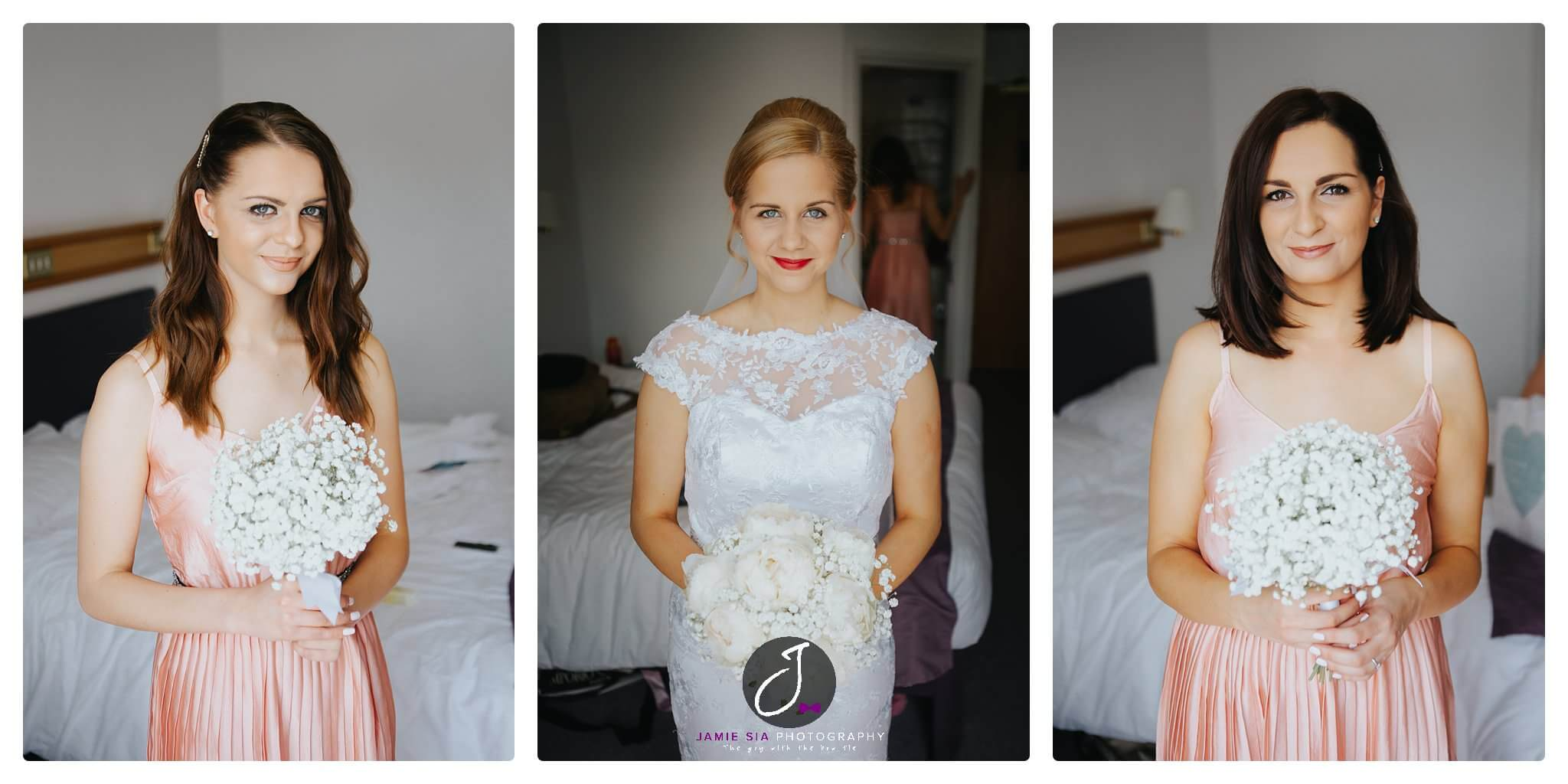 Beautiful trio bride with bridesmaids Yorkshire Wedding