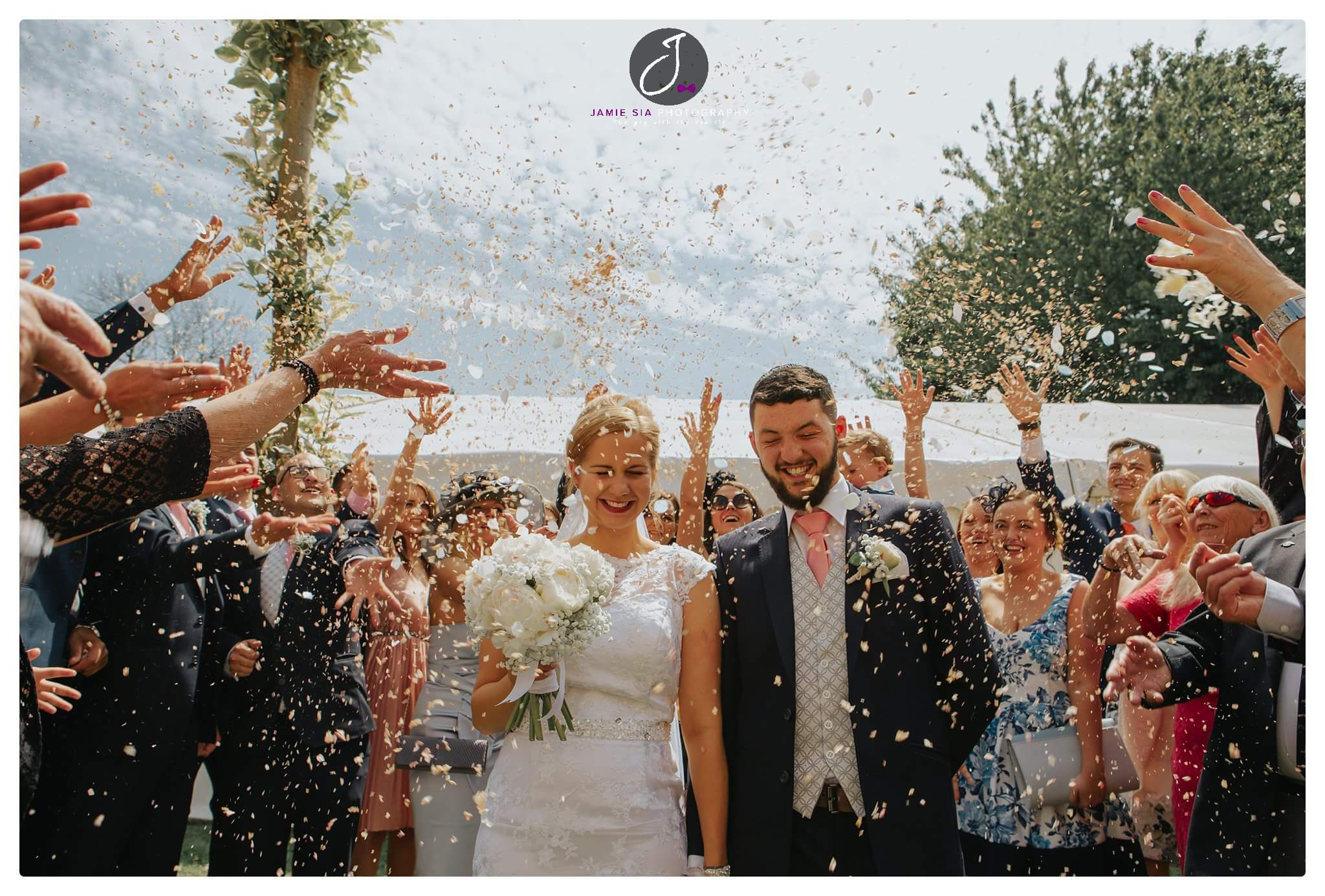 Confetti shower at Yorkshire Wedding Photographer Jamie Sia Photography