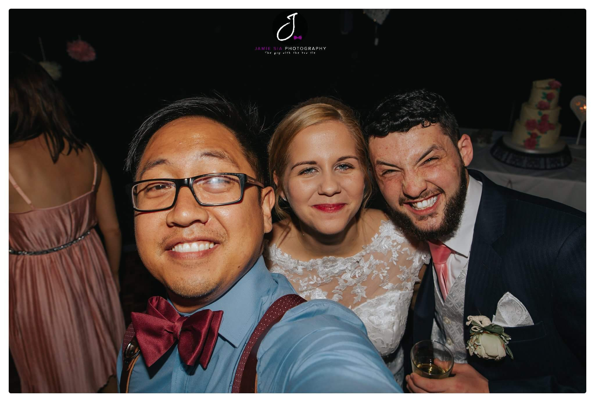 Fun bride and groom selfie Yorkshire wedding Jamie Sia Photography